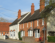 Terraced properties in North Warnborough, near Fleet